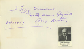 RAYMOND MOLEY - AUTOGRAPH NOTE SIGNED 10/23/1957 CO-SIGNED BY: ROSSANO BRAZZI