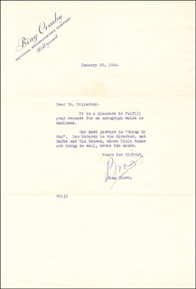 BING CROSBY - TYPED LETTER SIGNED 01/20/1944