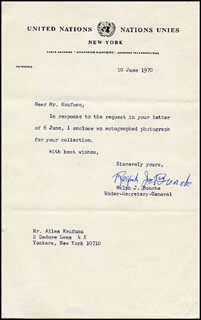 Autographs: RALPH J. BUNCHE - TYPED LETTER SIGNED 06/10/1970