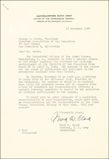 GENERAL MARK W. CLARK - TYPED LETTER SIGNED 11/17/1947