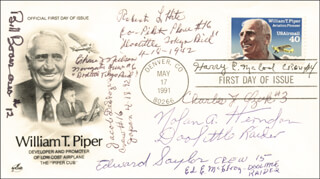 DOOLITTLE RAIDERS - FIRST DAY COVER SIGNED CO-SIGNED BY: LT. COLONEL CHASE J. NIELSEN, JACOB DE SHAZER, LT. COLONEL ROBERT L. HITE, COLONEL WILLIAM M. BILL BOWER, MAJOR NOLAN A. SUE HERNDON, LT. COLONEL EDWARD J. SAYLOR, LT. COLONEL HARRY C. MCCOOL, CAPTAIN CHARLES J. OZUK, ED McELROY