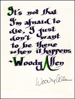 WOODY ALLEN - QUOTATION SIGNED  - HFSID 265626
