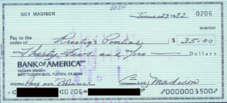 GUY MADISON - AUTOGRAPHED SIGNED CHECK 06/29/1982