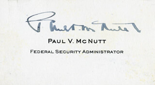 GOVERNOR PAUL V. MCNUTT - CALLING CARD SIGNED