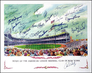Autographs: THE NEW YORK YANKEES - POSTER SIGNED CIRCA 1998 CO-SIGNED BY: ELLIOTT MADDOX, DICK DUCKY SCHOFIELD SR., BILLY GARDNER, BILL MOOSE SKOWRON, CLETE BOYER, RYNE DUREN, BILL ROBINSON, BOBBY RICHARDSON, SPECS THE NAUGATUCK NUGGET SHEA, DALE BERRA, IRV NOREN, JIM SPENCER, BRIAN DOYLE, GIL McDOUGALD, TOMMY HENRICH, RON BLOMBERG, NORM SIEBERN, JAKE GIBBS, GRAIG NETTLES, JOHNNY KUCKS, JERRY LUMPE, MIKE KEKICH, ANDY KOSCO, HANK BAUER, GARY WASLEWSKI, JACK CULLEN, MIKE ALDRETE, JACK PHILLIPS