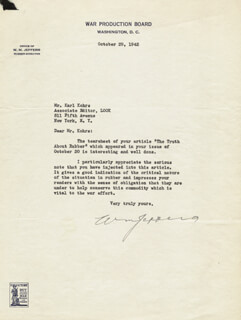 WILLIAM M. JEFFERS - TYPED LETTER SIGNED 10/29/1942