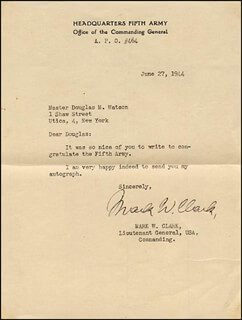 GENERAL MARK W. CLARK - TYPED LETTER SIGNED 06/27/1944