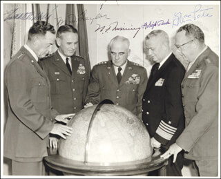 GENERAL NATHAN TWINING - AUTOGRAPHED SIGNED PHOTOGRAPH CIRCA 1957 CO-SIGNED BY: ADMIRAL ARLEIGH A. BURKE, GENERAL MAXWELL D. TAYLOR, GENERAL THOMAS D. WHITE, GENERAL RANDOLPH MCCALL PATE