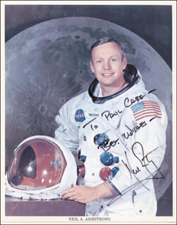 NEIL ARMSTRONG - INSCRIBED PRINTED PHOTOGRAPH SIGNED IN INK CIRCA 1976