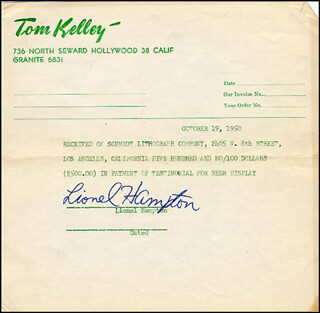 LIONEL HAMPTON - RECEIPT SIGNED 10/19/1950