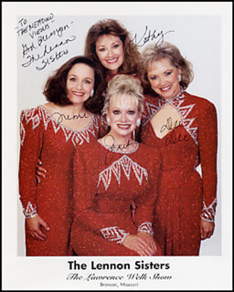 THE LENNON SISTERS - AUTOGRAPHED INSCRIBED PHOTOGRAPH CO-SIGNED BY: THE LENNON SISTERS (KATHY LENNON), THE LENNON SISTERS (JANET LENNON), THE LENNON SISTERS (DIANNE LENNON), THE LENNON SISTERS (MIMI LENNON)