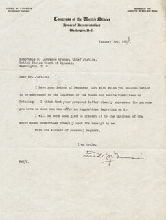 CHIEF JUSTICE FRED M. VINSON - TYPED LETTER SIGNED 01/03/1938
