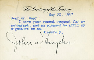 JOHN W. SNYDER - TYPED NOTE SIGNED 05/20/1947