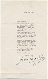 JOAN CRAWFORD - TYPED LETTER SIGNED 09/16/1942