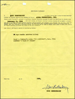 GENE RODDENBERRY - DOCUMENT SIGNED 02/11/1964