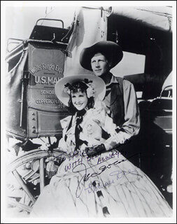 WELLS FARGO MOVIE CAST - AUTOGRAPHED INSCRIBED PHOTOGRAPH CO-SIGNED BY: JOEL McCREA, FRANCES DEE
