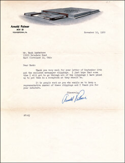 ARNOLD PALMER - TYPED LETTER SIGNED 11/10/1960
