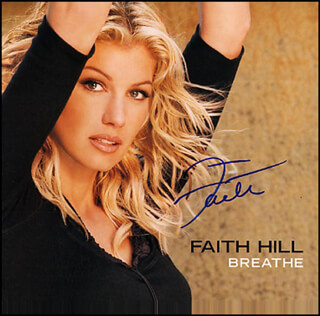 FAITH HILL - RECORD ALBUM COVER SIGNED