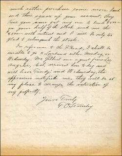 FREELAN O. STANLEY - AUTOGRAPH LETTER SIGNED 09/10/1911
