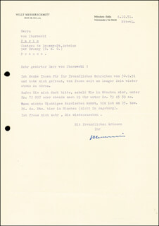 WILLY MESSERSCHMITT - TYPED LETTER SIGNED 10/04/1951