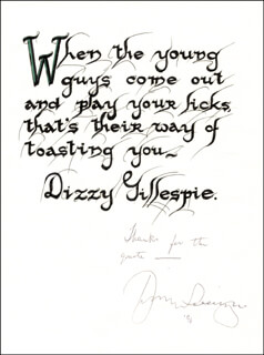 DIZZY GILLESPIE - QUOTATION SIGNED CIRCA 1991