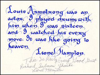 LIONEL HAMPTON - INSCRIBED QUOTATION SIGNED