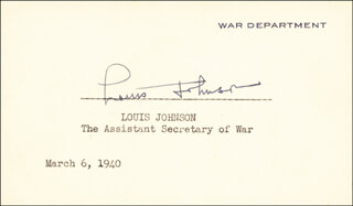 Autographs: LOUIS A. JOHNSON - SIGNATURE(S) 03/06/1940