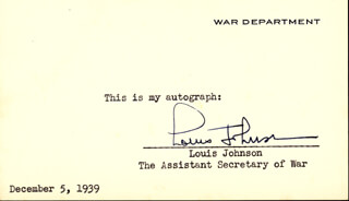 Autographs: LOUIS A. JOHNSON - SIGNATURE(S) CIRCA 1939
