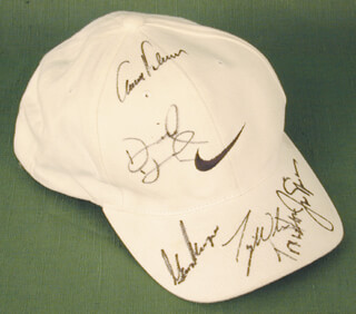 Autographs: TIGER WOODS - HAT SIGNED CO-SIGNED BY: JACK NICKLAUS, ARNOLD PALMER, GARY PLAYER, DAVID DUVAL