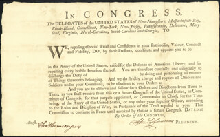 HENRY LAURENS - MILITARY APPOINTMENT SIGNED CO-SIGNED BY: CHARLES THOMSON