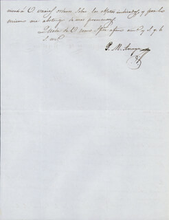 Autographs: PEDRO MARIA ANAYO - MANUSCRIPT LETTER SIGNED 04/09/1847