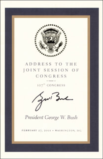 PRESIDENT GEORGE W. BUSH - PRINTED SPEECH SIGNED IN INK CIRCA 2001