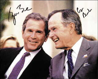 PRESIDENT GEORGE W. BUSH - AUTOGRAPHED SIGNED PHOTOGRAPH CO-SIGNED BY: PRESIDENT GEORGE H.W. BUSH