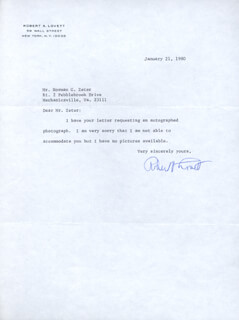 Autographs: ROBERT A. LOVETT - TYPED NOTE SIGNED 01/21/1980