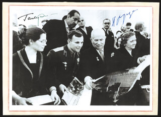 Autographs: CHAIRMAN NIKITA KHRUSHCHEV - PHOTOGRAPH SIGNED CO-SIGNED BY: COLONEL YURI GAGARIN