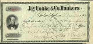 Autographs: JAY COOKE - CHECK SIGNED 03/30/1868