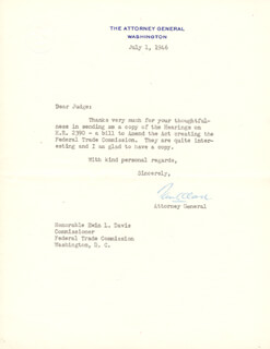 Autographs: ASSOCIATE JUSTICE TOM C. CLARK - TYPED LETTER SIGNED 07/01/1946