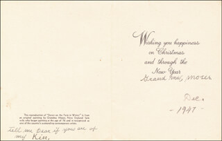 Autographs: GRANDMA MOSES - CHRISTMAS / HOLIDAY CARD SIGNED 12/1947