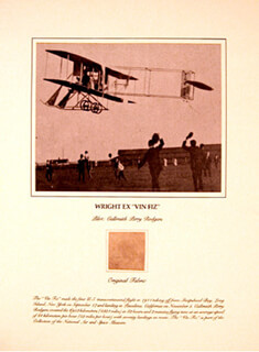 Autographs: VIN FIZ (TRANSCONTINENTAL FLIGHT) - EPHEMERA UNSIGNED CIRCA 1911