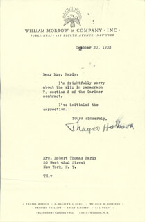THAYER HOBSON - TYPED LETTER SIGNED 10/20/1933