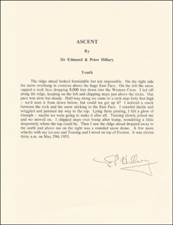 Autographs: SIR EDMUND P. HILLARY - TYPESCRIPT SIGNED