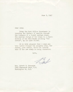 Autographs: ROBERT E. HANNEGAN - TYPED LETTER SIGNED 06/09/1947 CO-SIGNED BY: IRMA PROTZMANN HANNEGAN