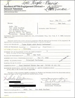 ANDY KAUFMAN - DOCUMENT SIGNED 05/17/1982 CO-SIGNED BY: LISBETH ANDERSON