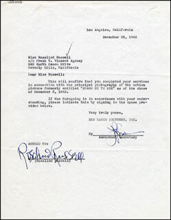 ROSALIND RUSSELL - DOCUMENT SIGNED 12/23/1942