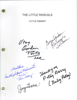 Autographs: OUR GANG MOVIE CAST - SCRIPT SIGNED CO-SIGNED BY: GORDON PORKY LEE, EUGENE PINEAPPLE JACKSON, PATSY BABY PATSY BARRY, JOY LANE, DOROTHY DE BORBA
