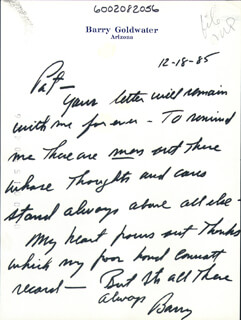 BARRY GOLDWATER - AUTOGRAPH LETTER SIGNED 12/18/1985