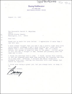 BARRY GOLDWATER - TYPED LETTER SIGNED 08/12/1987