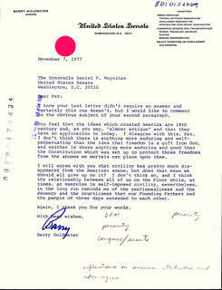 BARRY GOLDWATER - TYPED LETTER SIGNED BY AUTOPEN 11/07/1977