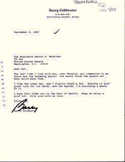 BARRY GOLDWATER - TYPED LETTER SIGNED 09/09/1987