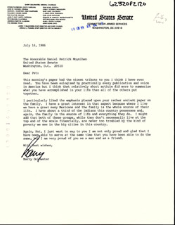 BARRY GOLDWATER - TYPED LETTER SIGNED BY AUTOPEN 07/16/1986